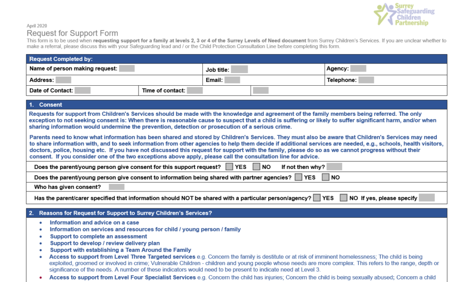 Surrey Childrens Services Request for Support Form